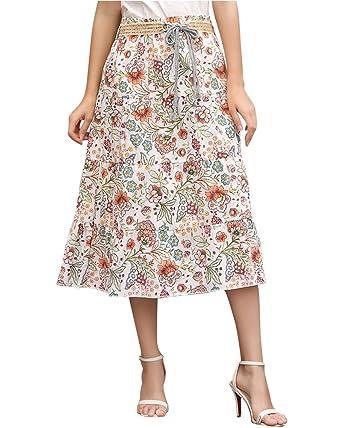 Style Femme Jupes Casual Bohème Taille Longue Jupe Rétro Imprimé Midi Floral Haute rdxeWBoC
