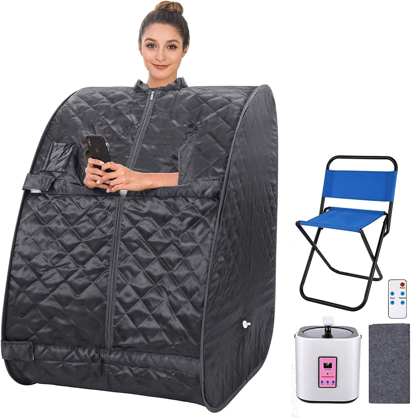 Portable Personal Sauna 2L Home Steam Sauna Tent Folding Indoor Sauna Spa Weight Loss Detox with Remote Control, Timer, Foldable Chair (Dark Grey)