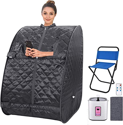 2L Portable Personal Sauna Home Steam Sauna Tent Folding Indoor Sauna Spa Weight Loss Detox with Remote Control, Timer, Foldable Chair Grey