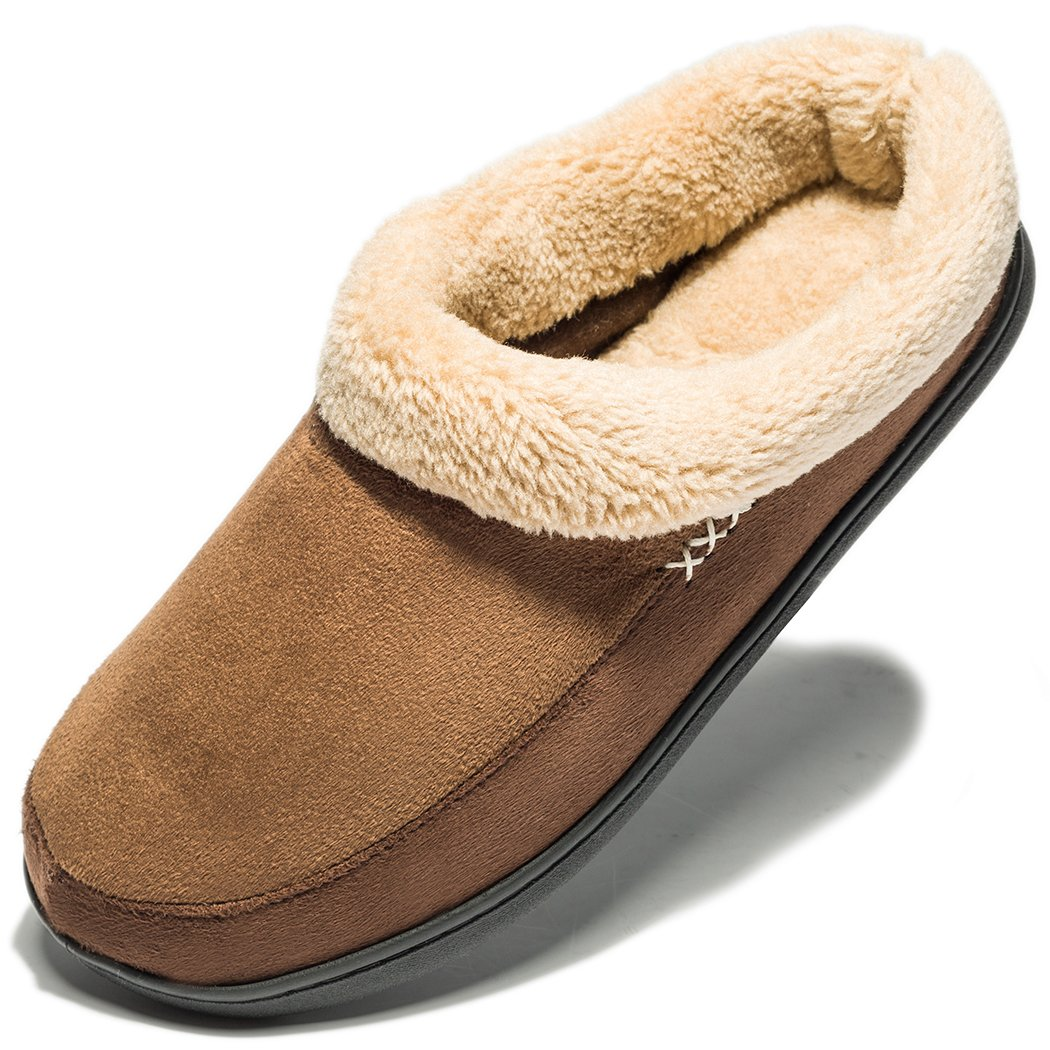 NDB Men's Warm Memory Foam Suede Plush Shearling Lined Slip On Indoor Outdoor Clog House Slippers (9-10 D(M) US, N-Dark Brown)