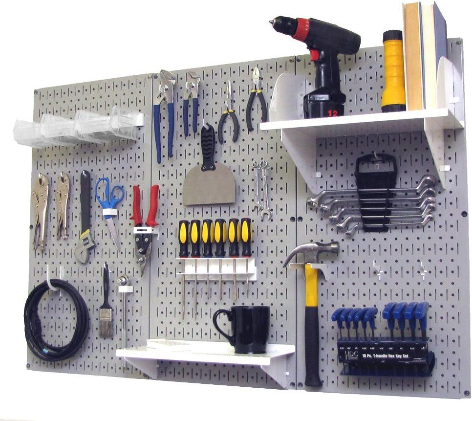 B00BI34D2O Pegboard Organizer Wall Control 4 ft. Metal Pegboard Standard Tool Storage Kit with Gray Toolboard and White Accessories 71Vs1RRsMoL
