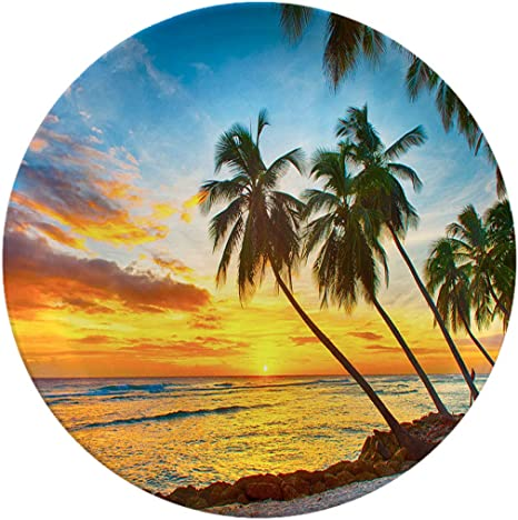 Porcelain Dinner Plates Barbados Beach And Palm Trees At Sunset Background Nature Scenery Elegant Round Serving Plates For Appetizers Dessert Salad Snacks 6 Inch 6 Piece Set Dinner Plates