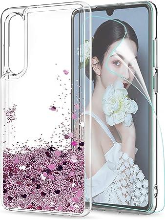 LeYi Custodia Huawei P30 Glitter Cover con HD Pellicola,Brillantini Silicone Gel Liquido Sabbie Mobili Bumper TPU Case per Custodie Huawei P30 Donna ...