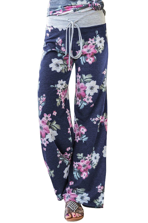 5216afcb1cd AMiERY Women s Casual Palazzo Pants Floral Comfy Wide Leg Pajama ...
