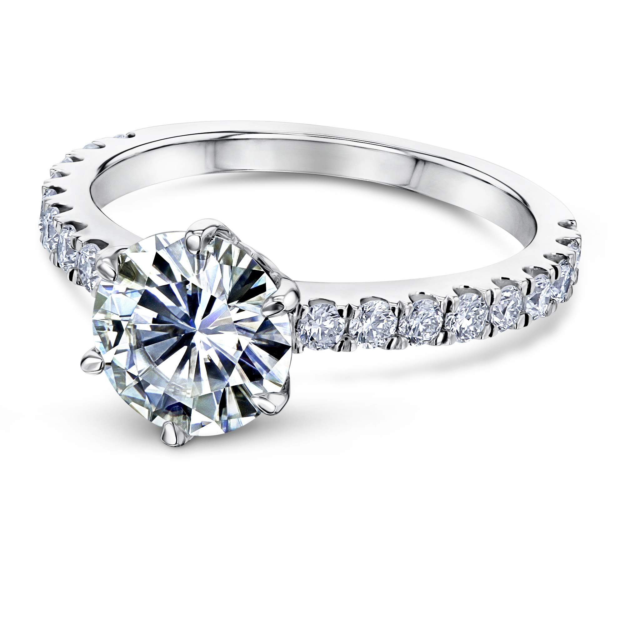 2-2/5ct.tw 6-Prong Solitaire Moissanite and Side Stone Classic Engagement Ring 14k White Gold (DEF/VS, GH/I1-I2), 6.5