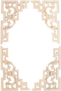 "MUXSAM Wood Carved Applique Corner Onlay (15x10cm/5.914""x3.94"") Frame Decal for Furniture Cabinet Door Bed Dresser Mirror(4-Pack)"
