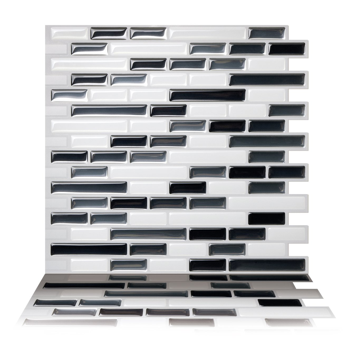 Tic Tac Tiles Premium Anti-mold Peel and Stick Wall Tiles (5 Tiles, Como Gray)