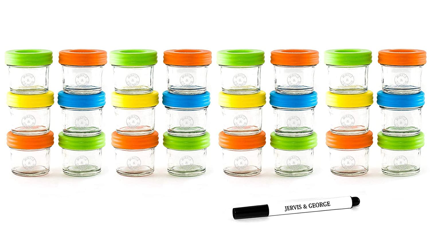 Glass Baby Food Storage Containers - Set Contains 24 Small Reusable 4oz Jars with Airtight Lids - Safely Freeze Your Homemade Baby Food