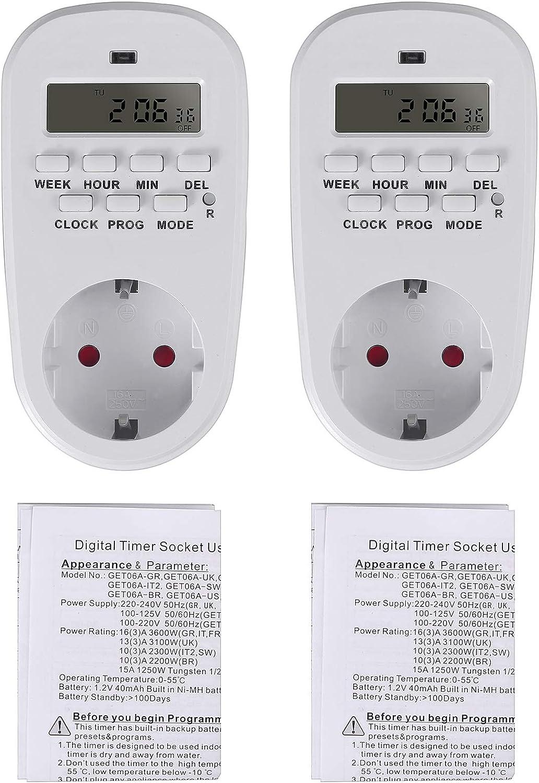 Neoteck Minuterie Programmable Num/érique 2 Pi/èces Prise Programmable Num/érique avec Grand /Écran LCD Prise Minuterie Programmable avec Interrupteur Relais Minuterie en Mode Al/éatoire
