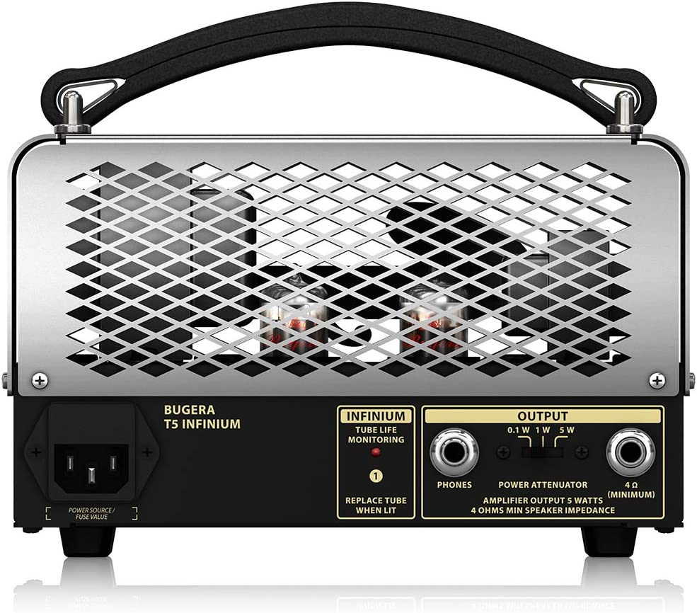 BUGERA T5 5-Watt Cage-Style Amplifier Head with Infinium Tube Life Multiplier and Reverb Multi Colored, (T5INFINIUM)
