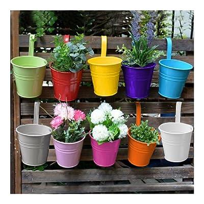Set 10 Metal Flower Pot Colour Balcony Garden Wall Fence Hanging Plant Planter: Garden & Outdoor