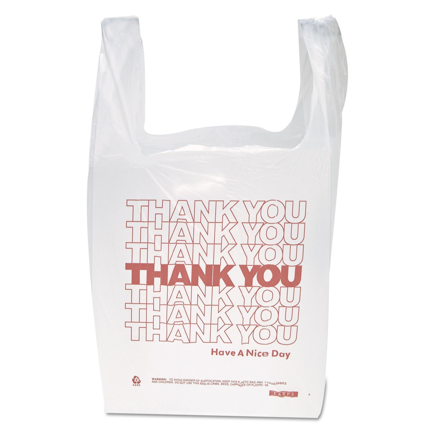 "Inteplast Group THW1VAL""Thank You"" Handled T-Shirt Bags, 11 1/2 x 21, Polyethylene, White (Case of 900)"