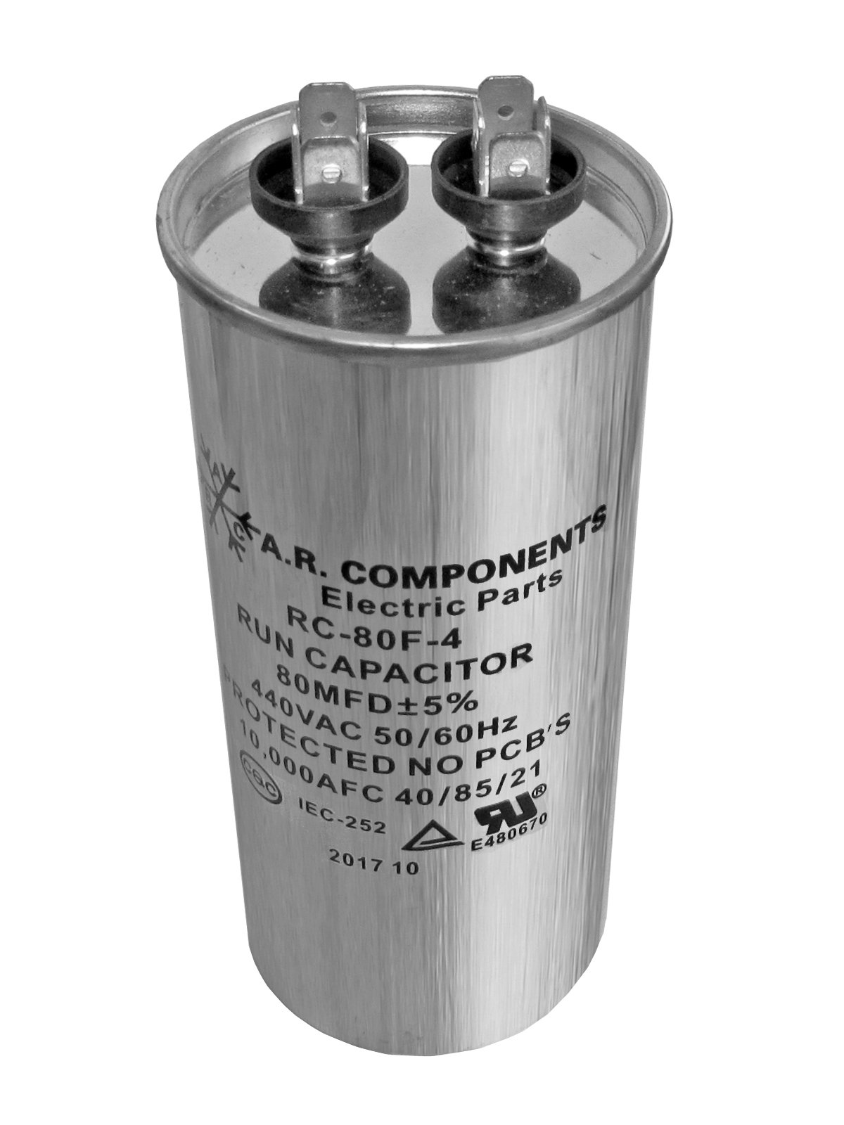 RUN CAPACITOR 80 MFD 440 VAC ROUND CAN. UL Certified. Pack of (1)
