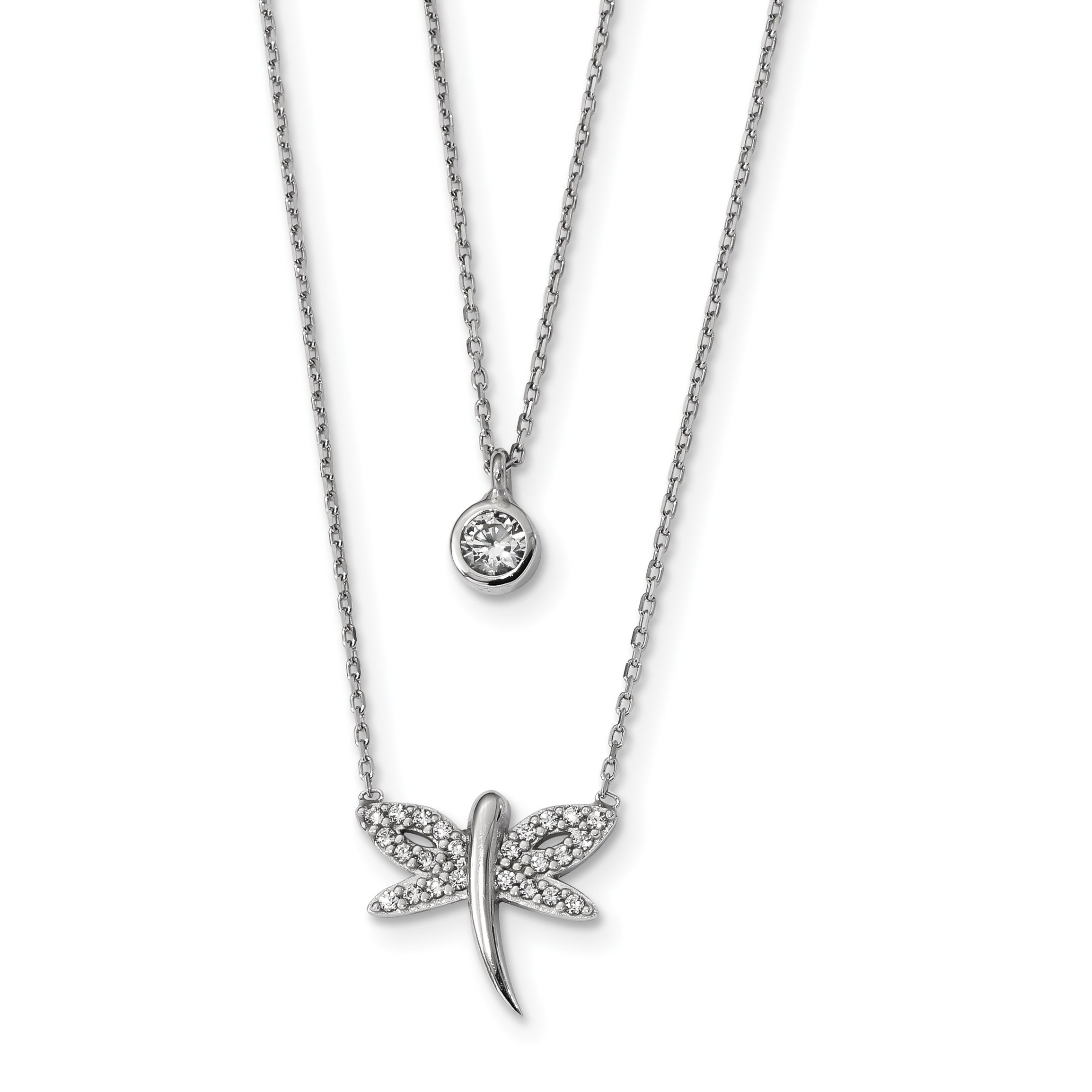 ICE CARATS 925 Sterling Silver Double Strand Cubic Zirconia Cz Dragonfly Chain Necklace Animals/insect Fine Jewelry Gift For Women Heart
