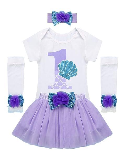 YiZYiF Conjunto 1 Cumpleaños Bebés Niñas Vestido Sirena Body ...