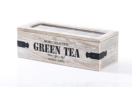 Dream Hogar Caja te infusiones Madera 4 Compartimentos Green Tea ...