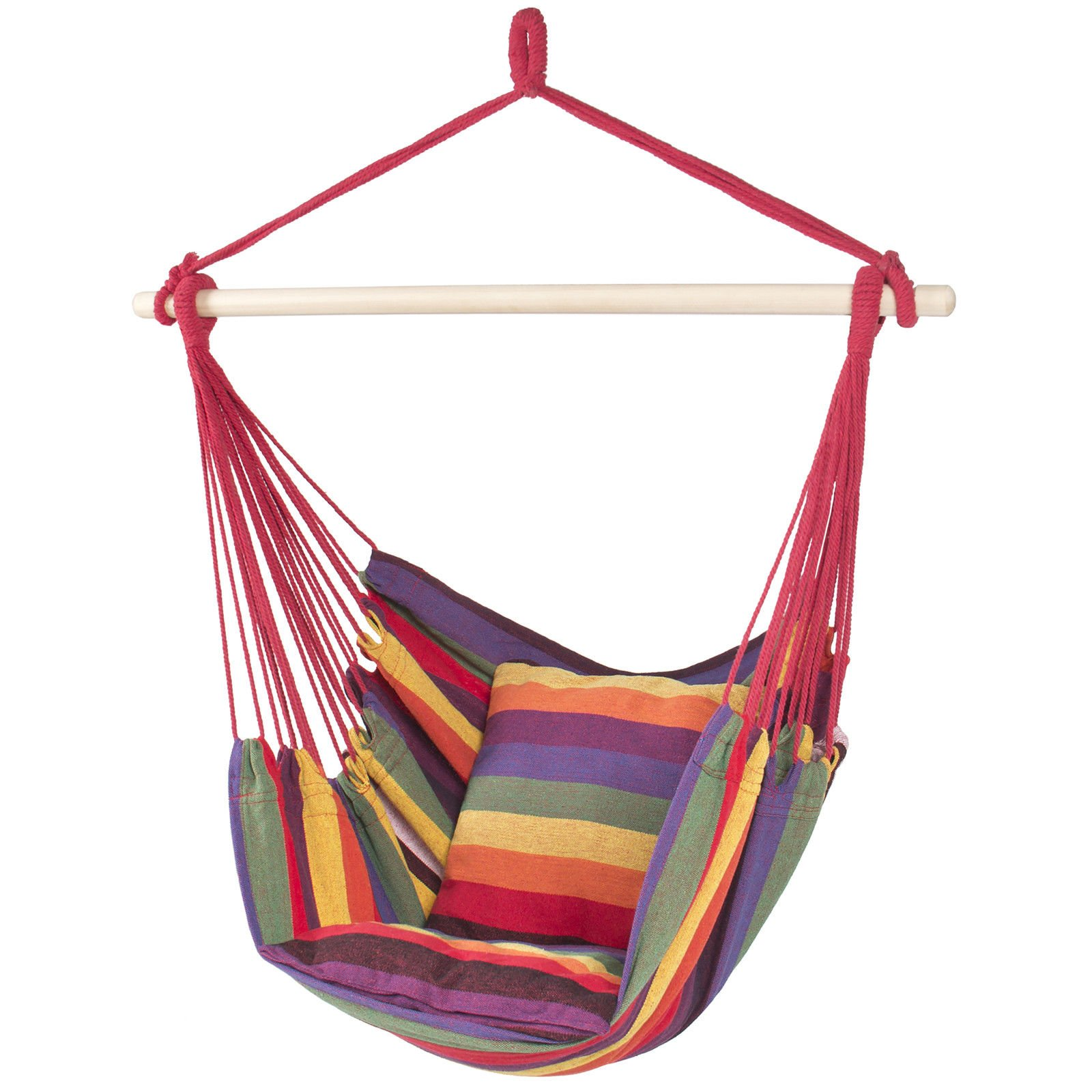 LTL Shop Porch Swing Seat Patio Hammock Hanging Rope Chair Portable Red Stripe