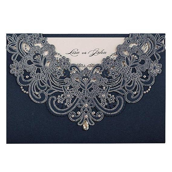 Wishmade 50 Stücke Blau Hochzeit Einladungen Karten Sets Spitze Lasercut Mit Rhinestone Hohlen geprägte Flora Pearl Papier Ei