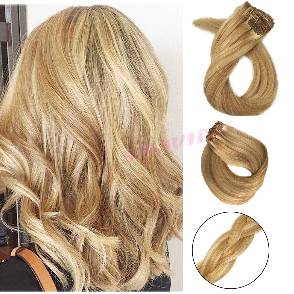 Smavida 16 Inch Ombre Clip in Hair Extensions Color #27 Strawberry Blond Fading to #613 Honey Bleach Blond Thickened Soft Silky Straight for Fashion Women 7pcs 17clips Full Head Mixed Bleach. by Smavida