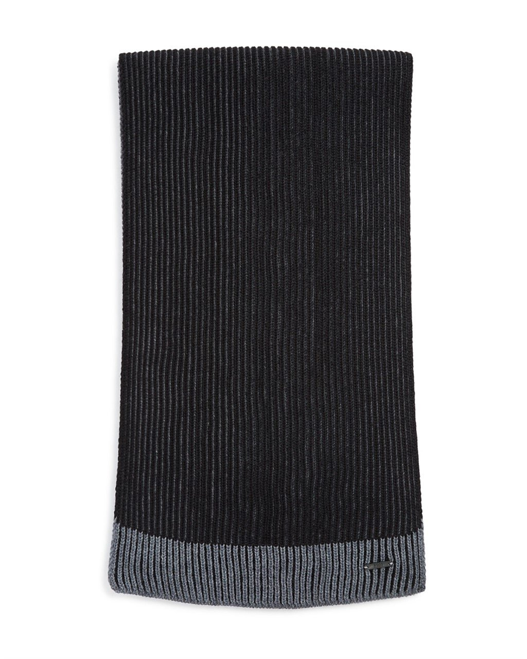 Hugo Boss Balios Two-Color Reversible ribbed knit scarf Extra fine merino wool (Black)