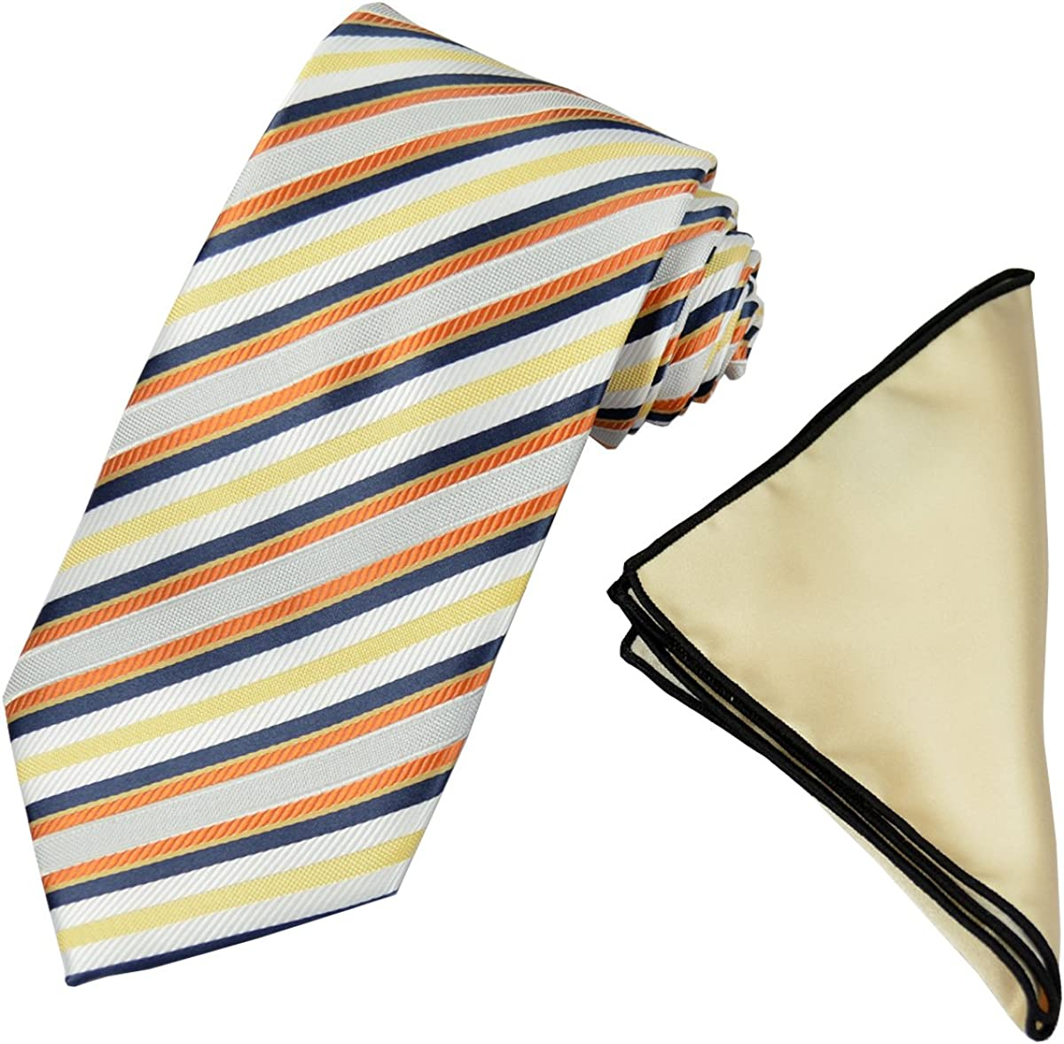 Striped Mens Tie and Contrast Pocket Square Set