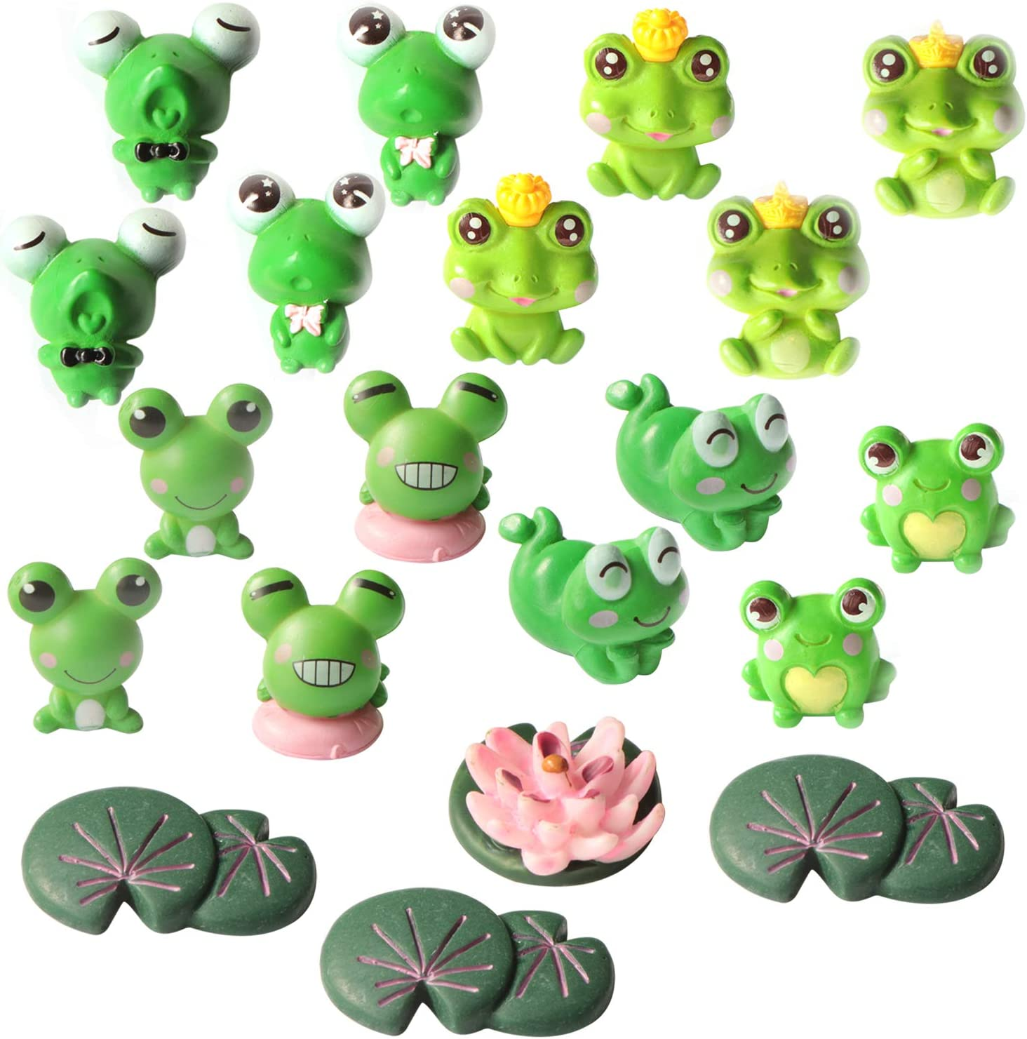 20 Pieces Cute Frog Miniature Figurines, SPWOLFRT Mini Garden Frog Ornaments Animals Model Fairy Garden Miniature Moss Landscape DIY Craft for Home Party Decoration (20)