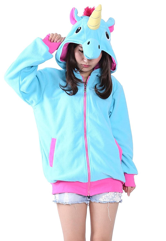 Live It Style It Unicorn Soft Animal Hoodie Hooded Sweater Jacket Womens Mens