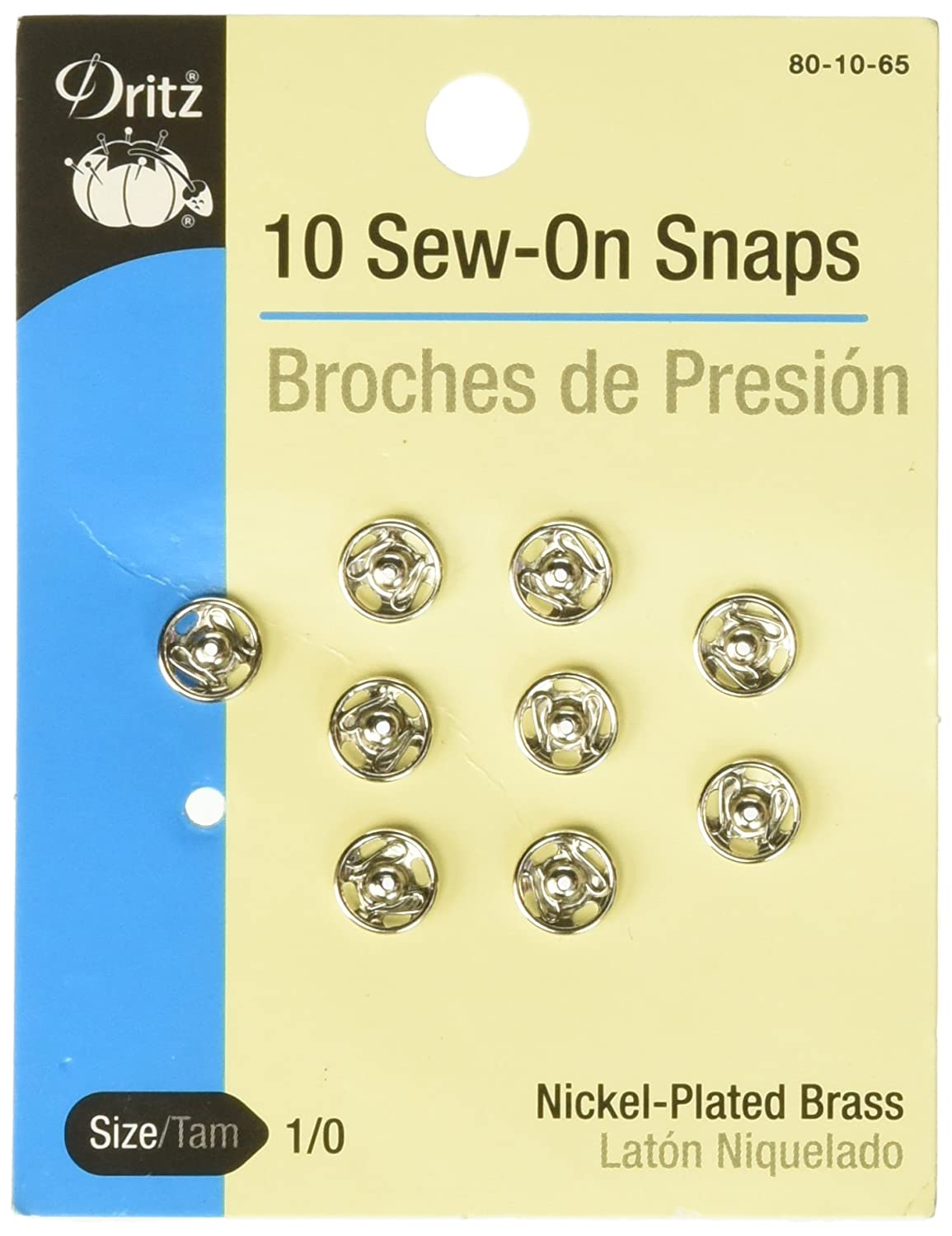 Dritz 80-10-65 Sew-On Snaps Size 1//0 10-Count Nickel-Plated Brass