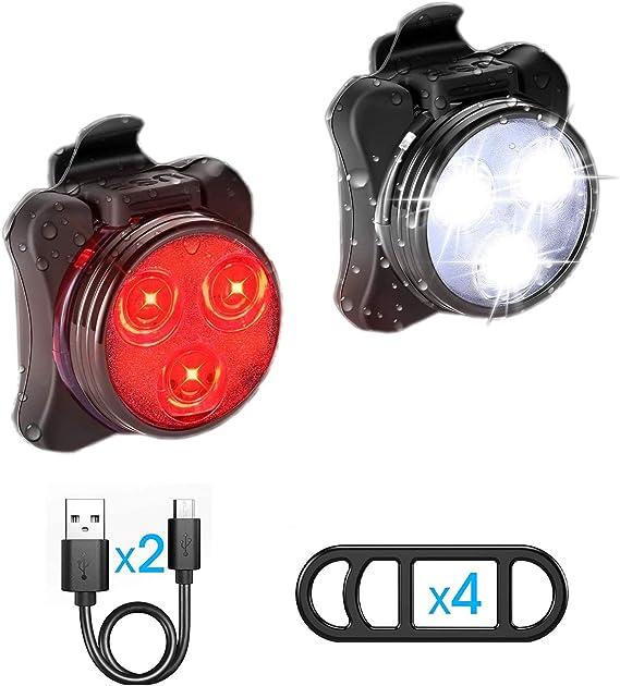 Ozvavzk Luz Bicicleta Recargable USB, Luces Bicicleta Delantera y ...