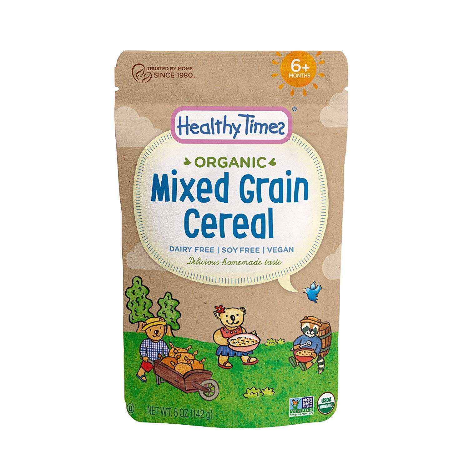 Healthy Times Organic Whole Grain Baby Cereal, Mixed Grain | Baby Food for Babies 4 Months & Older | 5 Oz. Bag, 1 Count by Healthy Times