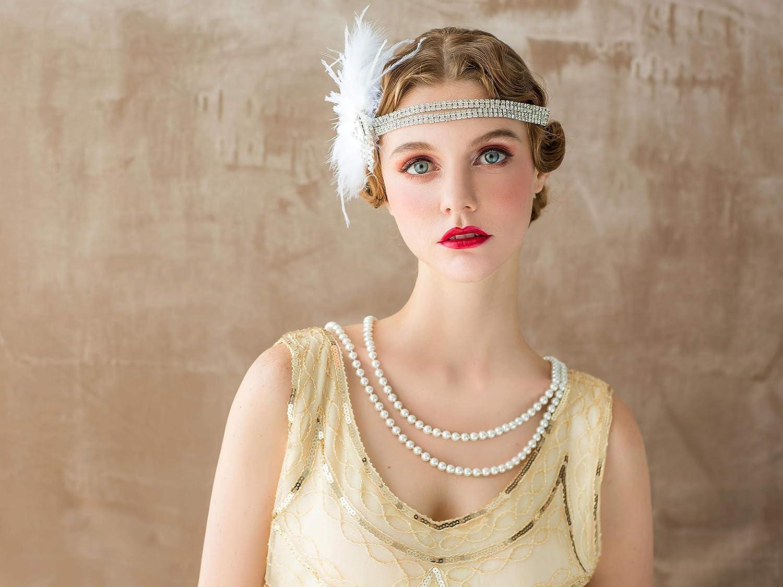 SWEETV Flapper Bandeaux Femmes Ann/ées 1920 Headpiece Great Gatsby Inspir/é Plume Bandeau Cocktail Party Accessoires De Cheveux pour les Femmes Noir
