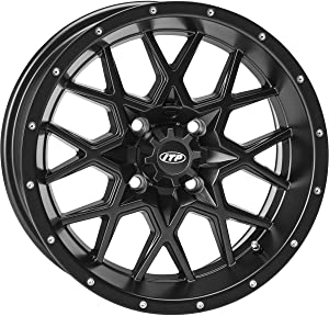 "ITP Hurricane Matte Black Wheel with Machined Finish (12x7""/4x110mm)"