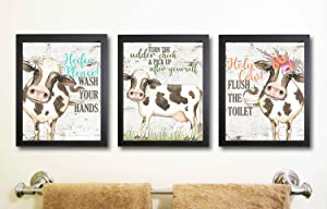 I Will Love You Till The Cows Come Home Art Print Watercolor Design Wall Decor Set (Bathroom Prints)