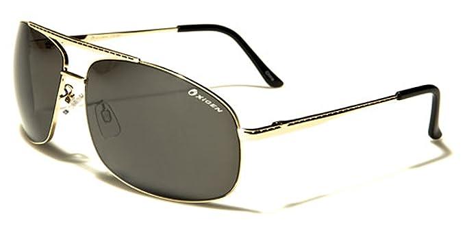 Oxigen - verspiegelte Herren-Sonnenbrille mit ovalen Gläsern, UV400-Schutz, mit Mikrofaserbeutel in kräftigen Fraben Gr. One Size, Gunmetal/yellow/yellow lens