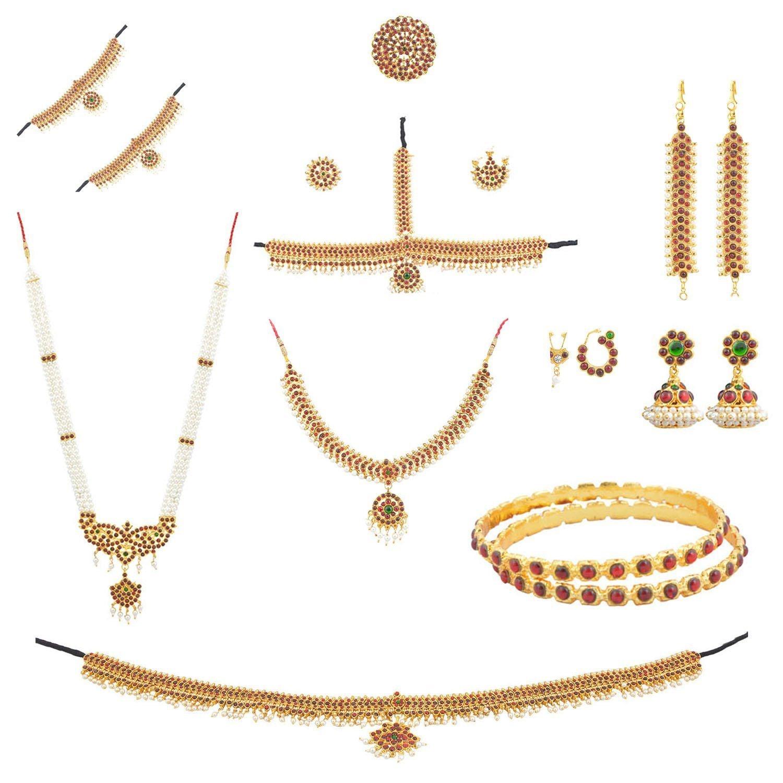 Fashionatelier Women's Bharatanatyam Full Set (10 Items) Multi-Colour by Fashionatelier