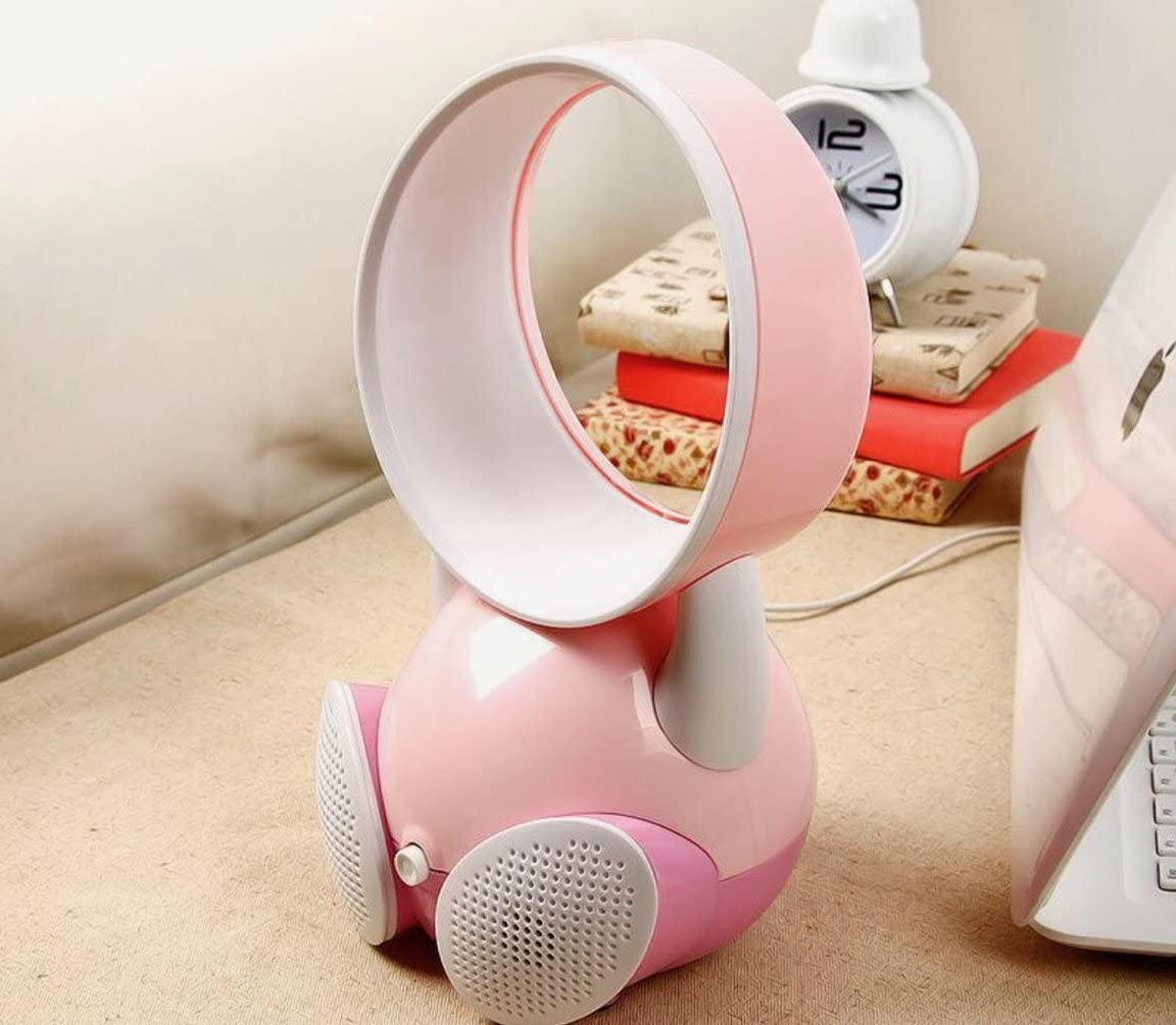 Mini Bladeless Fan with Bluetooth Speakers Portable USB Charger