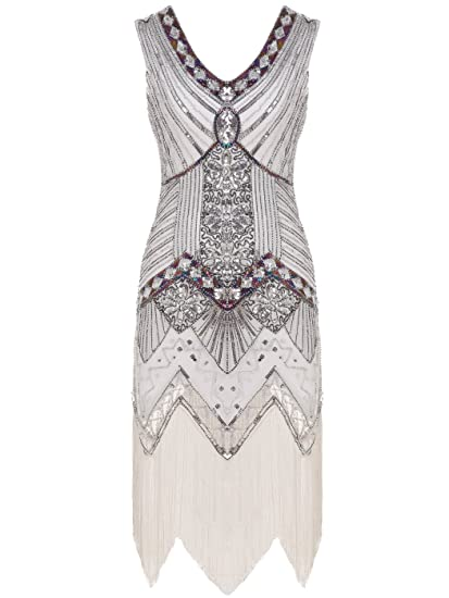 b5d604ed FAIRY COUPLE 1920s Flapper Double V-Neck Sequined Rhinestone Embellished  Fringed Dress D20S003(S
