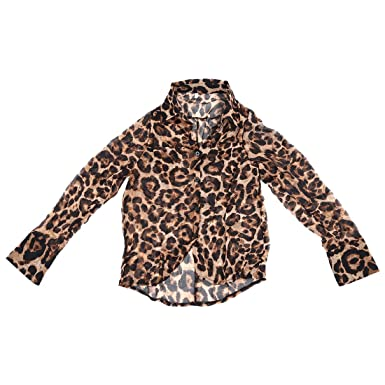 2a6696f137555 SODIAL (R)New Sexy Womens Leopard Animal Print Tops Loose Chiffon Shirt  Collar Blouse  Amazon.co.uk  Clothing