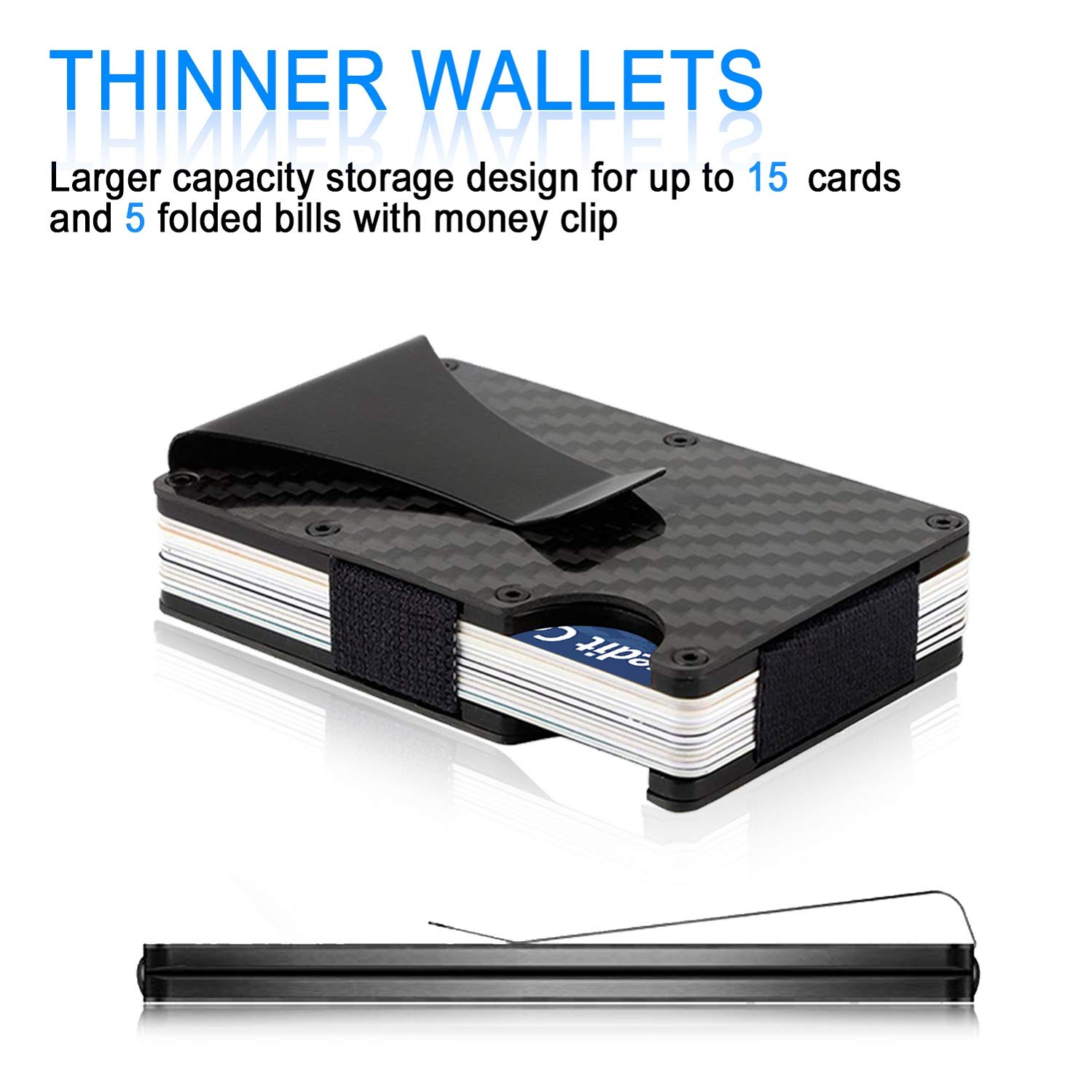 Carbon Fibre Wallet, Slim Money Clip & Minimalist RFID Blocking Front Packet Slim Wallet, Aluminum Metal Wallet & Business Card Holder Billfolds for Men and Women