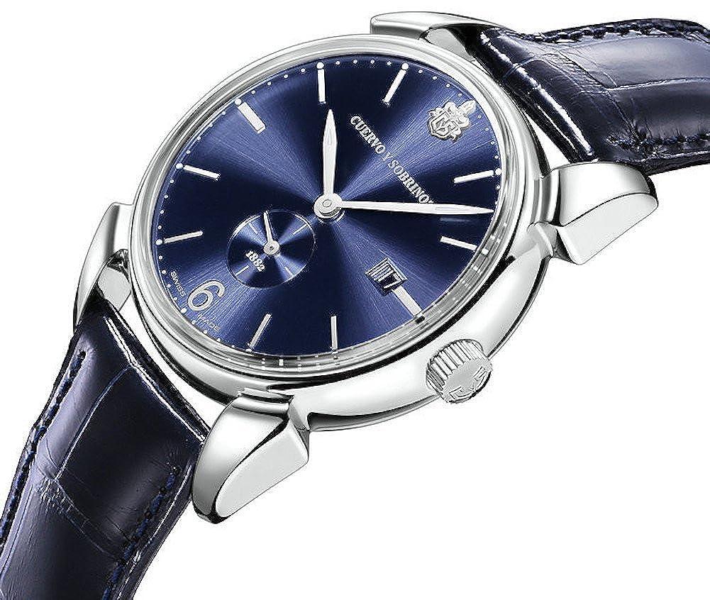 Cuervo Y Sobrinos 3191.1bs Hombres del reloj historiador Pequenos segundos azul Sunray automático: Cuervo y Sobrinos: Amazon.es: Relojes
