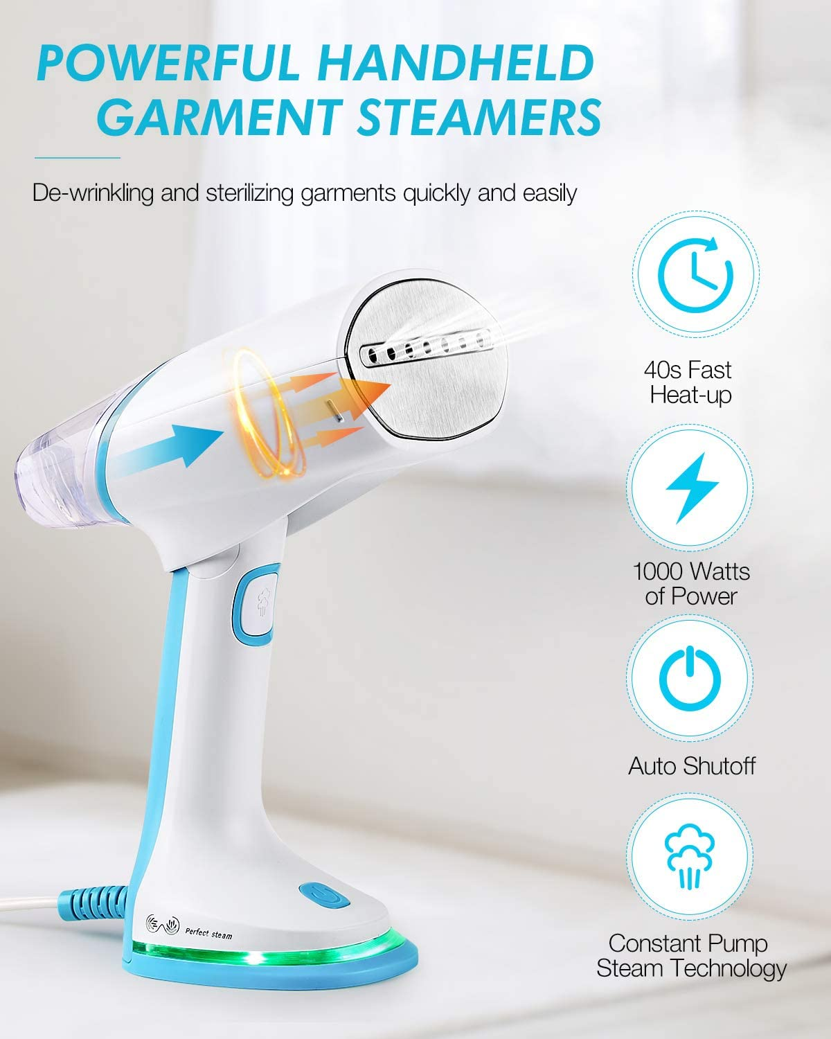 BEAUTURAL Dual Voltage Travel Steamer for Clothes