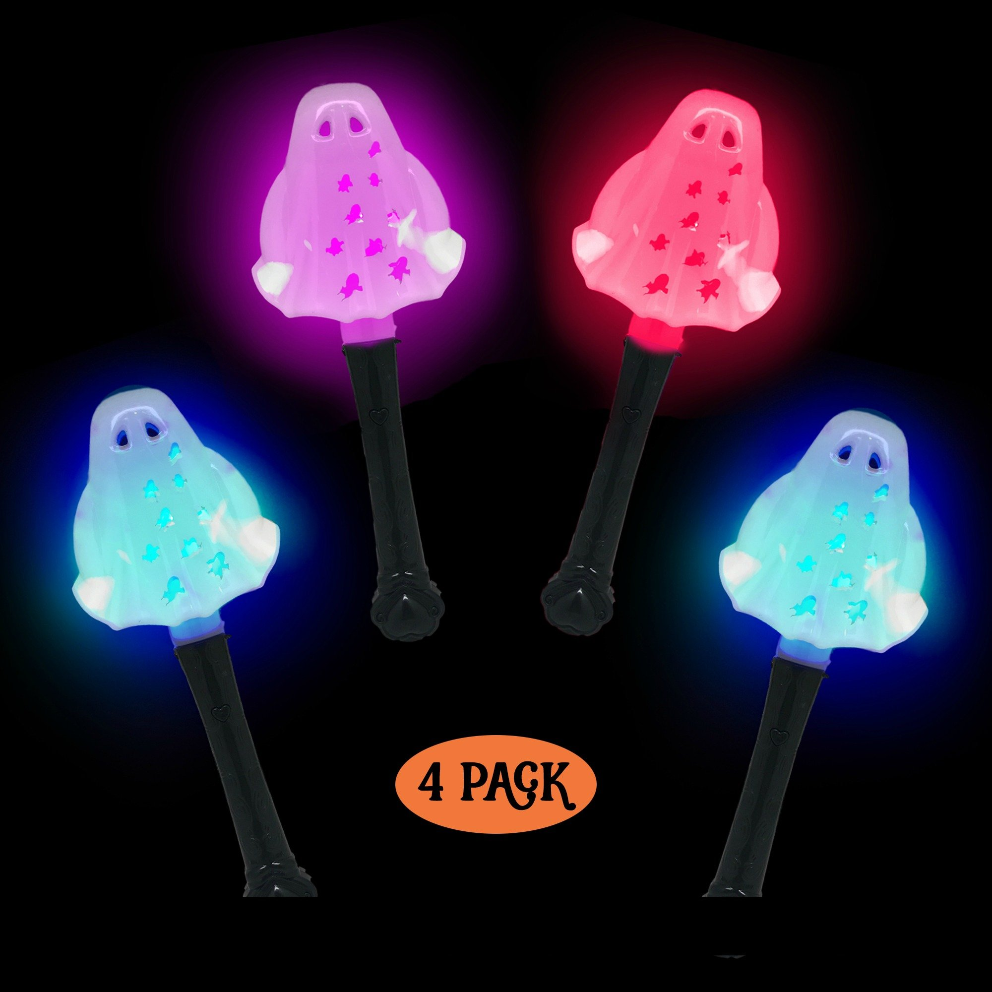 Simply Charmed Halloween Party Favors for Kids 4 Pack of LED Ghosts - Great Toys for Goody Bags