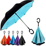 Dopobo Double Layer Inverted Umbrella Cars Reverse Umbrella Extremely Waterproof and Windproof Inverted Umbrella with C-Shaped Handle (B-B)
