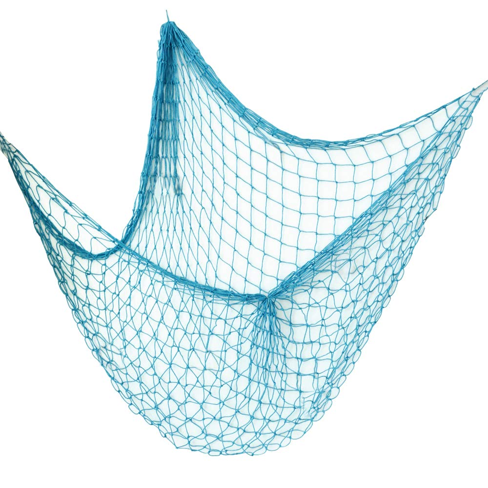 JNCH Rete da Pesca Decorativa 2 * 1.5 m Decorazione Foto Nautica Stile Mediterraneo Photo Hanging per Casa Camera Parete Salotto Festa Bar Tema Marino Nautico Mare Ocean Blue