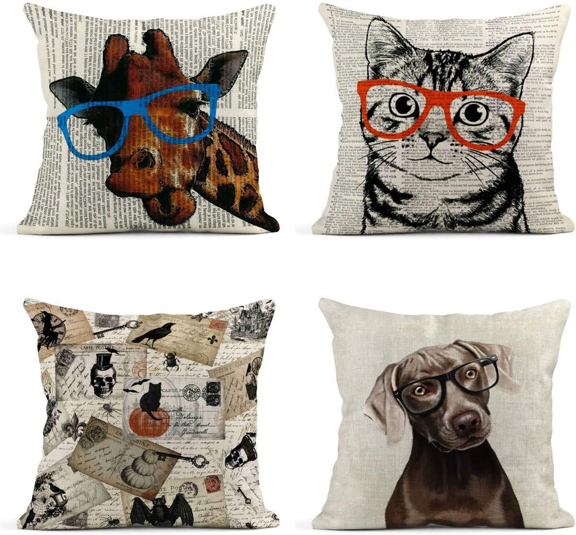 NEW Retro Vintage Reading BOOK Lovely Cat Linen Throw Pillow Case Cushion Cover