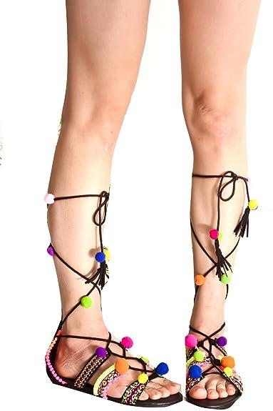 f102d6d4cbd8 JP Original Multi Color Lace up Pompom Fringe Accent Open Toe Casual Sandals  9 Black