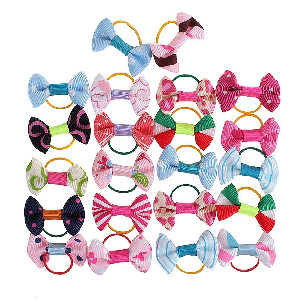 Nsstar Puppy Dog Cute Hair Bows Pets for Grooming Pet Charms Hair Accessories with 1pcs Free Cup Mat Color Random (100pcs)