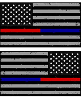 x2 / Pack of Tattered Police & Fire Thin Blue/Red Line American Flag Decals