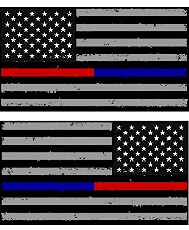 1c495354c5fc8 x2   Pack of Tattered Police   Fire Thin Blue Red Line American Flag Decals