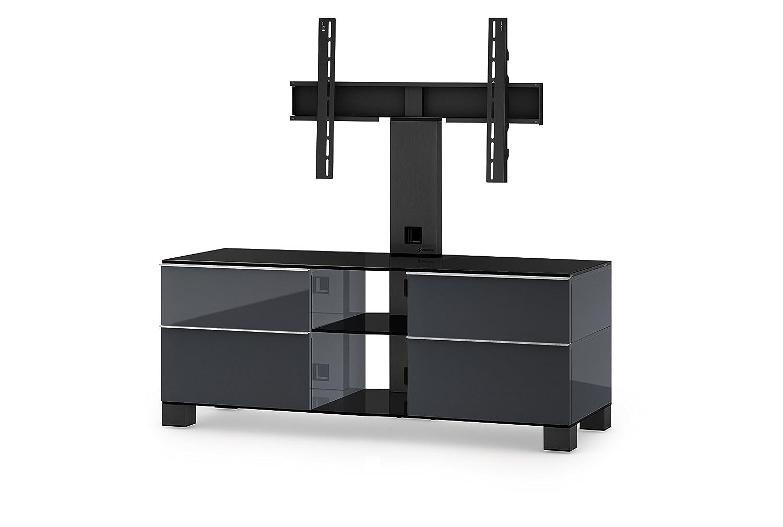 Sonorous MD 8340-B-HBLK-GRP Fernseher-Möbel mit Schwarzglas (Aluminium Hochglanz, Korpus Hochglanzdekor) graphit/schwarz
